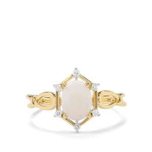 Coober Pedy Opal & Argyle Diamond 9K Gold Ring ATGW 0.77cts