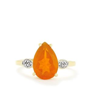 AAA Orange American Fire Opal & Diamond 10K Gold Ring ATGW 2.09cts