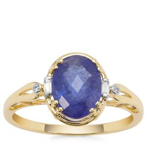AA Tanzanite Ring with White Zircon in 9K Gold 2.65cts