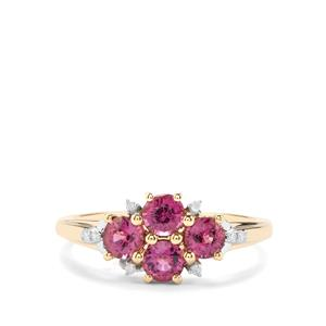 Comeria Garnet & Diamond 9K Gold Ring ATGW 1.29cts