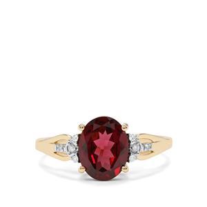 Mahenge Red Garnet & Diamond 10K Gold Ring ATGW 2.25cts