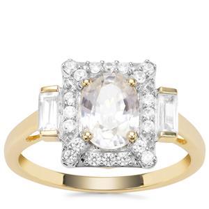 Singida Tanzanian Zircon Ring with White Zircon in 9K Gold 2.56cts