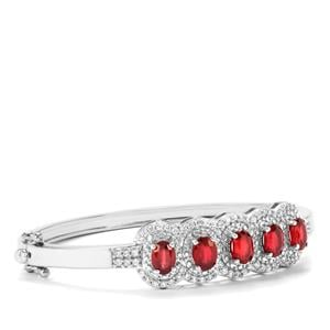 Malagasy Ruby & White Zircon Sterling Silver Oval Bangle ATGW 7.56cts (F)