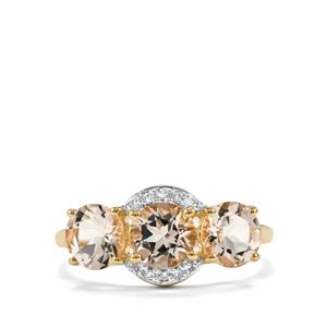 Alto Ligonha Morganite Ring with Diamond in 10K Gold 2.13cts