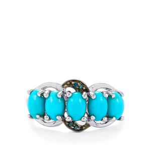 Sleeping Beauty Turquoise Ring with Blue Diamond in Sterling Silver 2cts