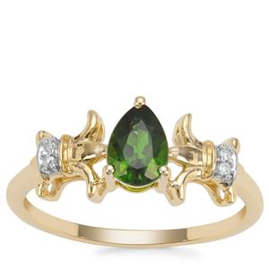 Chrome Diopside Ring with Diamond in 9K Gold 0.77ct