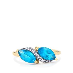 Neon Apatite & Diamond 10K Gold Ring ATGW 1.50cts