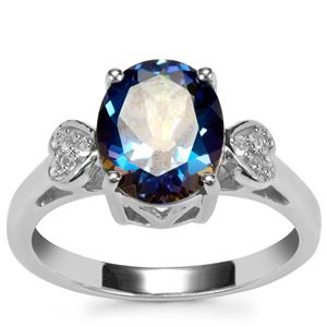 Mystic Blue Topaz Ring with White Topaz in Sterling Silver 3.08cts