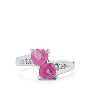 Ilakaka Hot Pink Sapphire & White Topaz Sterling Silver Ring ATGW 2.45cts (F)