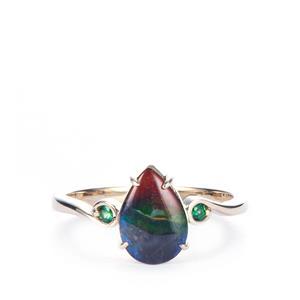 AA Ammolite & Tsavorite Garnet 9K Gold Ring (10 x 7mm)