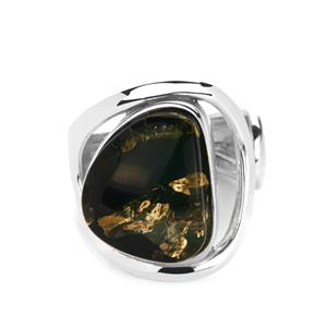 Baltic Green Amber (13x15mm) Ring in Sterling Silver