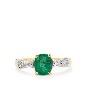 Zambian Emerald & Diamond 18K Gold Tomas Rae Ring MTGW 1.67cts