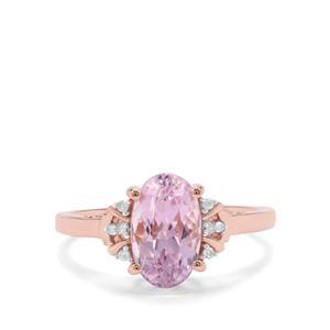 Natural Nuristan Kunzite & Diamond 9K Rose Gold Ring ATGW 2.40cts