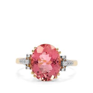 Congo Pink Tourmaline & Diamond 18K Gold Tomas Rae Ring MTGW 4.94cts