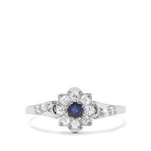 Sri Lankan Sapphire & White Zircon 9K White Gold Ring ATGW 0.62cts
