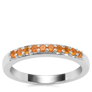 'Sunset Shades' American Fire Opal Ring in Sterling Silver 0.18cts