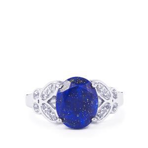 Sar-i-Sang Lapis Lazuli & White Topaz Sterling Silver Ring ATGW 3.63cts