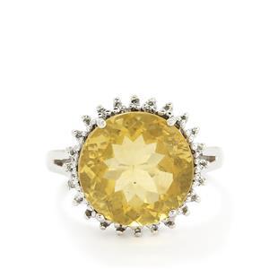 Golden Fluorite & White Topaz Sterling Silver Ring ATGW 11.73cts
