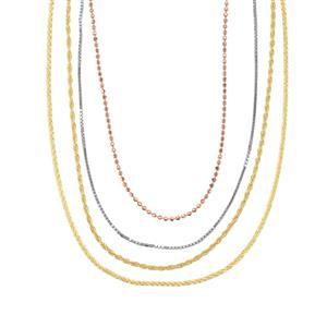 Three Tone Midas Altro Diamond Cut Multi Strand Necklace 17.09cts