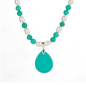Kaori Cultured Pearl Necklace with Green Magnesite in Sterling Silver