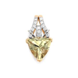 Csarite® & Diamond 18K Gold Pendant MTGW 2.29cts