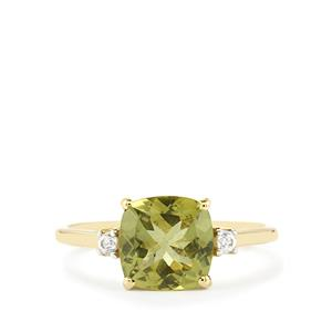 Ilakaka Natural Green Apatite Ring with White Zircon in 10k Gold 2.32cts
