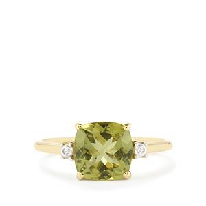 Ilakaka Natural Green Apatite & White Zircon 9K Gold Ring ATGW 2.32cts