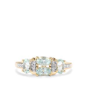 Aquaiba Beryl & Diamond 9K Gold Ring ATGW 0.90cts