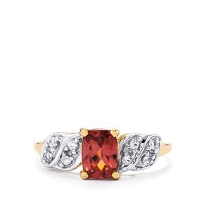 Zanzibar Zircon & Ceylon White Sapphire 9K Gold Ring ATGW 1.64cts