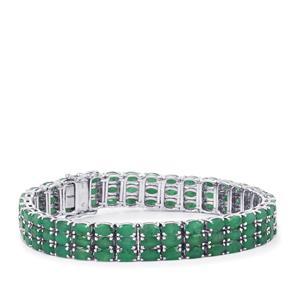 23.05ct Carnaiba Brazilian Emerald Sterling Silver Bracelet