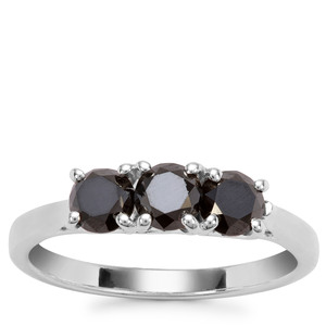 Black Diamond Ring in Sterling Silver 1.20cts