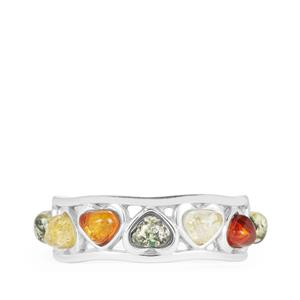 Baltic Cognac, Champagne & Green Amber Ring in Sterling Silver (4 x 3.5mm)
