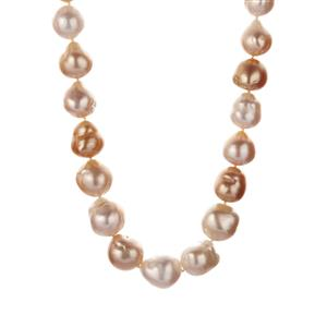 South Sea & Golden South Sea Cultured Pearl Necklace in Sterling Silver (14.50 x 9.50mm)