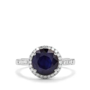 Madagascan Blue Sapphire & Diamond Sterling Silver Ring ATGW 3.75cts