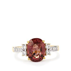 Color Change Garnet Ring with Diamond in 18k Gold 3.37cts
