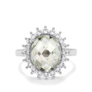 Prasiolite & White Topaz Sterling Silver Ring ATGW 4.76cts