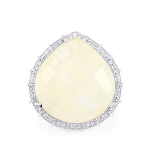 Rainbow Moonstone & White Topaz Sterling Silver Ring ATGW 28.69cts