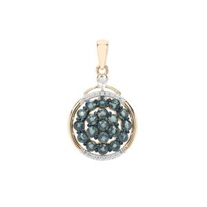 Natural Nigerian Blue Sapphire & White Zircon 9K Gold Pendant ATGW 2.57cts
