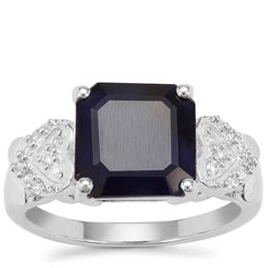 Madagascan Blue Sapphire Ring with White Zircon in Sterling Silver 5.52cts