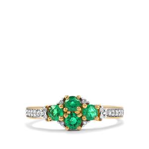 Ethiopian Emerald Ring with Diamond in 18K Gold 0.62cts