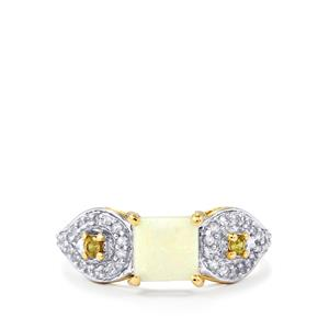 Coober Pedy Opal, Ambanja Demantoid Garnet & White Zircon 9K Gold Ring ATGW 0.91cts
