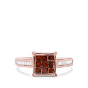 3/4ct Red & White Diamond 9K Rose Gold Ring