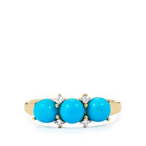 Sleeping Beauty Turquoise Ring with White Zircon in 9K Gold 1.88cts
