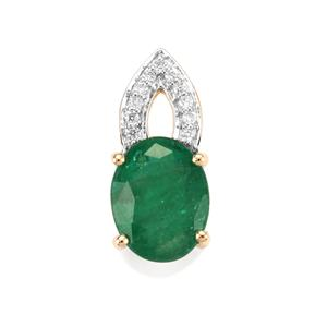 Minas Gerais Emerald Pendant with Diamond in 14K Gold 1.57cts