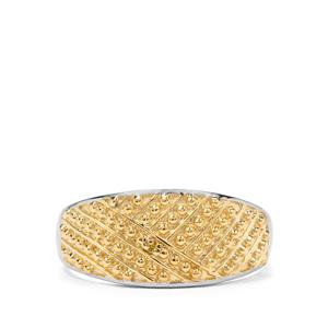 Yellow Diamond Two Tone Sterling Silver Ring