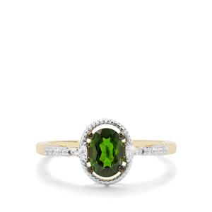 Chrome Diopside & White Zircon 9K Gold Ring ATGW 1.03cts