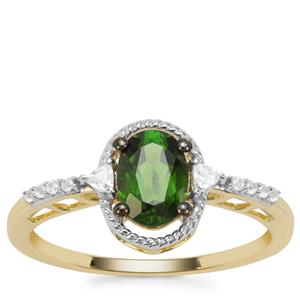 Chrome Diopside Ring with White Zircon in 9K Gold 1.03cts