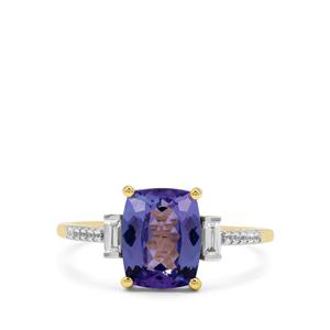 AA Tanzanite Ring with White Zircon in 9K Gold 2.45cts