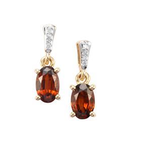 Capricorn Zircon & Diamond 9K Gold Earrings ATGW 1.43cts