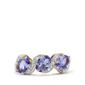 AA Tanzanite Ring with White Zircon in 10K Gold 1.86cts